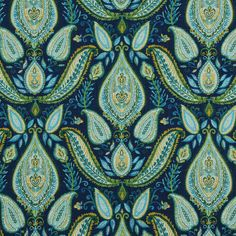 Home Decor Print Fabric- Robert Allen Ombre Paisley / Ultramarine, , hi-res Paisley Curtains, Paisley Fabric, Paisley Pattern, Blue Fabric, Robert Allen, Peacock Blue, Aqua Blue, Blue Green, Peacock Theme