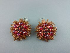 Round Red Gold dangle Embroidered Earrings Latvian designer Jewelry in bead embroidery beadwork Valentine's Day present for her OOAK