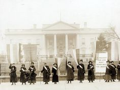 Women suffragists picketing in front of the White House in 1917.