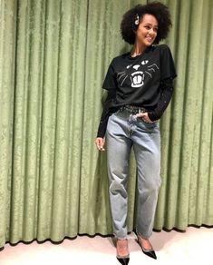 sporting some really funky and feminine looks here. sporting some really funky and feminine looks here. Nathalie Emmanuel, Make Me Smile, Miu Miu, Capri Pants, Feminine, Style Inspiration, Instagram, Jeans, Fashion