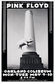 "Large Pink Floyd Oakland 1977  Concert Poster 19/""x13/"" RARE Animals Tour"