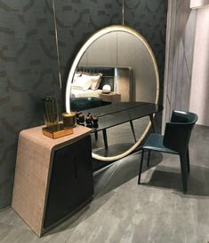 This modern console console is our inspiration of the day. Get inspired at www. Master Bedroom Interior, Bedroom Bed Design, Bedroom Decor, Bed Furniture, Luxury Furniture, Furniture Design, Stylish Dressing Table Designs, Bedroom Dressing Table, Dressing Table Vanity