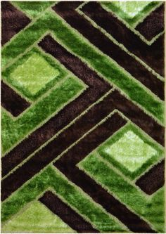 Royal Collection Green Brown Contemporary Design Shaggy Shag Area Rug 6015  #RugStyle #Contemporary