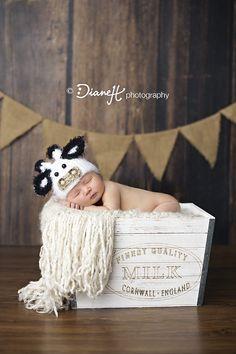 Newborn Boy Case IH Farmer with Cow Hat (Spring Valley, Mn Newborn Photographer)
