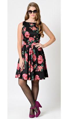 1950s Pin-Up Black & Pink Rose Floral Stretch Flared Tea Dress