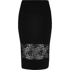 Zwarte kokerrok met kanten inzetstuk - midi-rokken - rokken - dames