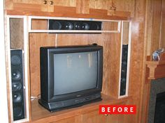 How to update built in cabinets in your media room with Acoustone Speaker Cloth to make it look more finished and hide equipment!