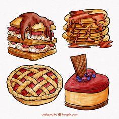 Watercolor Stickers, Watercolor Food, Food Stickers, Cute Stickers, Cute Kawaii Drawings, Cartoon Drawings, Fruit Sketch, Cute Food Art, Food Wallpaper