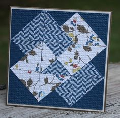 handmade quilt card by Lauri Ingram ... card trick pattern ... blues .... embedded with embossing folder texture ... Stampin' Up!