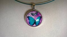 Butterfly glass cabochon necklace Blue butterfly Butterfly Butterfly Jewelry, Butterfly Necklace, Blue Necklace, Short Necklace, Blue Butterfly, Collar Necklace, Pendant Necklace, Blue Bracelets, Cardboard Jewelry Boxes
