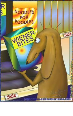 Coldcuts Cartoons Wiener Dog shopping for groceries