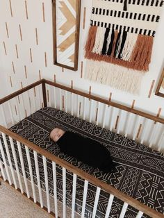 DIY nursery as well as baby room decorating! Suggestions for you to develop a little paradise on earth for your little bundle. Great deals of baby room decor ideas! Nursery Room, Girl Nursery, Nursery Decor, Black Crib Nursery, Hippie Nursery, Ikea Baby Nursery, Ikea Crib, Brown Nursery, Bohemian Nursery
