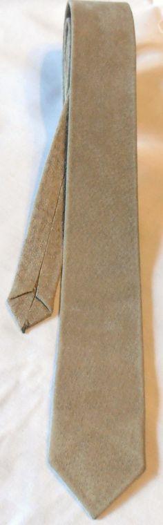 Vintage skinny light brown tan suede leather necktie