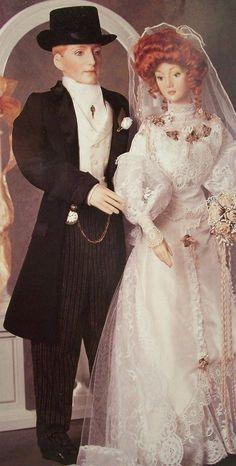 NRFB Franklin Mint GIBSON GIRL BRIDE & GROOM 2 DOLL ANNIVERSARY HEIRLOOM COA NIB