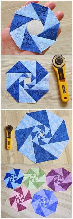 Piecing octagons from triangles; the intricate design is a simple piecing technique repeated three times. Quilt blocks
