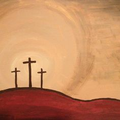Acrylic Painting on Canvas 3 wooden crosses on by ArtInBlessings, $50.00