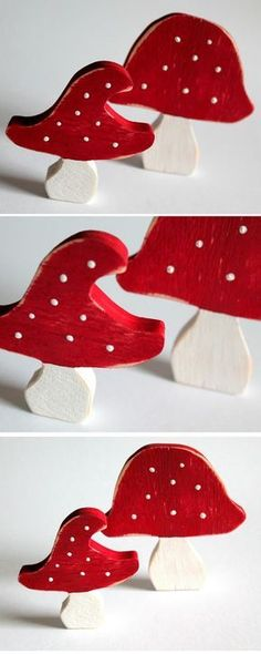 DIY toadstools: make your own wooden decoration with these instructions! DIY shabby chic toadstools made of wood + instructions: DIY, handicrafts, do it yourself, sawing, s Fall Arts And Crafts, Fall Crafts For Kids, Wooden Decor, Wooden Crafts, Wooden Art, Bible Verse Decor, Selling Handmade Items, How To Make Bows, Decorating Blogs
