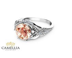 14K White Gold Morganite Ring Unique Morganite by CamelliaJewelry. I would faint or cry. Or both. I'm not sure which.