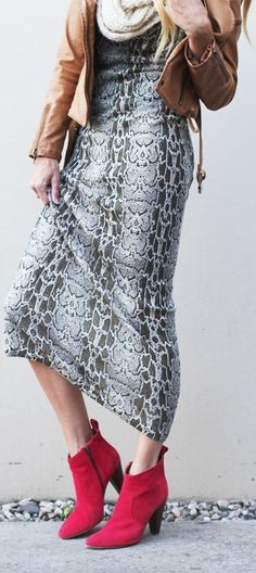 Snake Print Maxi & Red Ankle Boots by Lolobu - Live Your Style.