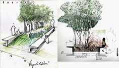 RHS image mixed media drawing shows texture. Collage Architecture, Landscape Architecture Design, Architecture Graphics, Architecture Drawings, Landscape Sketch, Landscape Plans, Landscape Drawings, Urban Design Concept, Berlin Museum