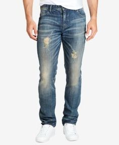 William Rast Men's Slim Straight Fit Ripped Stretch Jeans - Blue 30x30
