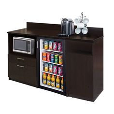 Breaktime Coffee Kitchen Espresso Sideboard with Practical Lunch Break Room Functionality with Fully Assembled Commercial Grade 4699 - The Home Depot Kitchen Base Cabinets, Kitchen Worktop, Kitchen Pantry, Lunch Room, Break Room, Cabinet Furniture, My New Room, Room Colors, Bedroom Decor