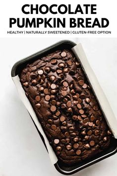 This Healthy Chocolate Pumpkin Bread is an easy, healthy treat that tastes like a spiced chocolate loaf! #chocolatebread #pumpkinbread #pumpkindessert #chocolatepumpkin Chocolate Pumpkin Bread, Healthy Pumpkin Bread, Chocolate Cake Recipe Easy, Healthy Chocolate, Chocolate Flavors, Chocolate Cakes, Sugar Free Recipes, Easy Cake Recipes, Pumpkin Recipes
