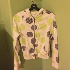 PacSun Jacket Kirrk Sunshine jacket, purchased at PacSun. White jacket with a fun green and purple print. Women's size medium. Has two pockets and slight discoloration at the wrists (picture included). Overall great condition. PacSun Jackets & Coats