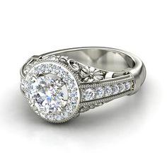 Round Diamond Palladium Ring with Diamond - Primrose Ring | Gemvara