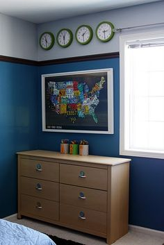 I like these colors with the green accent and the time zone idea. Behr cayman bay and behr burnshed metal blue paint colors Kids Bedroom, Bedroom Decor, Bedroom Ideas, Kids Rooms, Boy Rooms, Nursery Room, Blue Paint Colors, Room Colors, Parade Of Homes