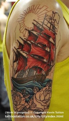 Ship tattoo (in progress) by KevinTotton, via Flickr This is what I want on my thigh!!!