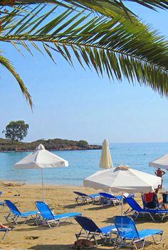 Ammoudara Beach in Agios Nikolaos, Lassithi Patio, Beach, Outdoor Decor, Travel, Crete, Viajes, The Beach, Beaches, Destinations