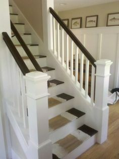 Staircase Renovation must do: Behr's Porch and Floor paint in Bitter Chocolate for the rails