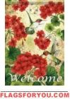 Hummingbird Geranium House Flag
