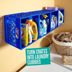 Turn crates into laundry cubbies. |Handyman Magazine|