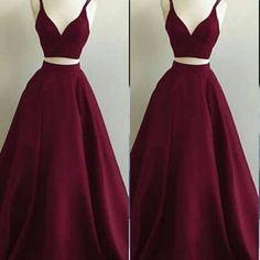 ec03e7a3f4e Straps Burgundy Long Prom Dress Evening Dress from modsele