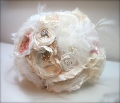 Fabric Flower Bouquet Vintage Brooch Bouquet by GracefullyGirly