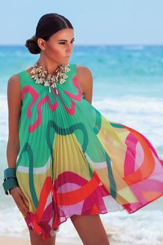 Bright print pleated beach dress tunic. Available exclusively in the UK at www.lilylola.com