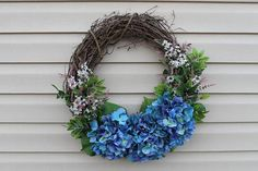 Spring wreath. Summer wreath. Mother's Day gift. Hydrangea wreath. by CustomCrafts, $54.00 USD