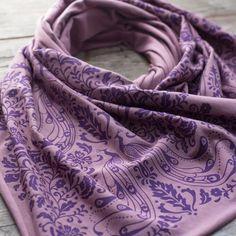 Hand-Printed Scarf - Purple Peacock Pattern Handmade Scarf - Eco-Frien – Morris and Essex Purple Peacock, Soft Purple, Peacock Pattern, Purple Scarves, Handmade Scarves, Alexander Mcqueen Scarf, Pattern Design, Feminine, Fabric