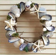 Blue and White Shell Wreath!!! Bebe'!!! Great for the Beach House or Coastal Cottage!!!