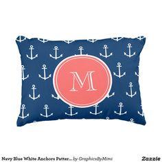 Navy Blue White Anchors Pattern, Coral Monogram 2