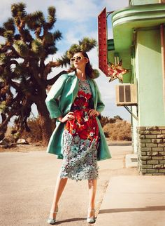 Ooooo, the 3/4 length coat and lacy dress with print!!!Leo Krumbacher takes to the California desert with model Rachel Alexander for a recent edition of Grazia Germany. Garbed in retro inspired looks