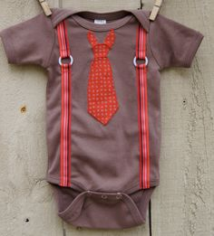 Necktie with suspenders onesie