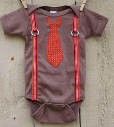 Necktie with suspenders onesie. So cute.