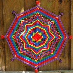 Your place to buy and sell all things handmade Henna Mandala, Crochet Mandala, Mandala Art, God's Eye Craft, Hand Kunst, Yarn Crafts, Diy Crafts, Hamsa Art, Gods Eye