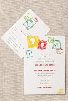 Colorful Vintage Stamp Printed Invite