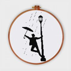 Singin' in the Rain silhouette cross stitch pattern pop culture movie design by ThuHaDesign