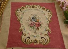 20-034-French-Chic-Shabby-Floral-Bronze-Color-Scroll-Completed-Needlepoint-Canvas