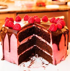 Dark #Chocolate #Cake with #Raspberry Buttercream